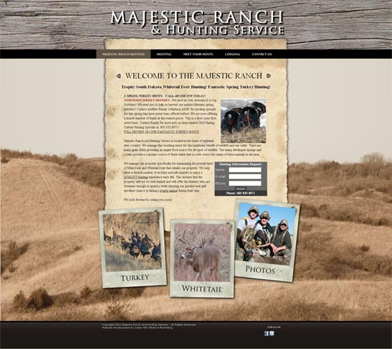 Website Development For Majestic Ranch Hunting Service